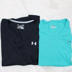 Two Under Armour Shirts Teal and Black